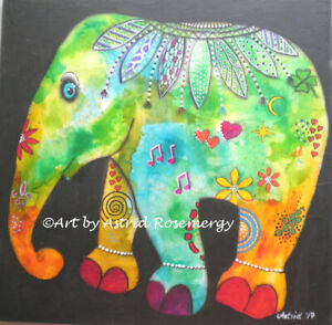 Elephant - Animal Mammal intuitive colourful - Original Painting by Astrid