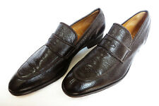 GRAVATI Italy Mens Leather Slip Ons Split Toe Peccary Penny Loafers Shoes 11