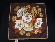 Vtg 1970's Throw Pillow Cushion Cover Brown Floral Flowers Retro Mid Century NOS