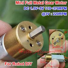 DC1.5V 3V 5V 370RPM Mini Full Metal Gearbox Gear Reducer Motor For DIY Robot Car