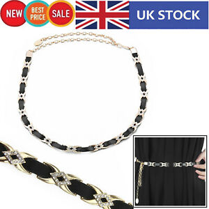 PU Leather Black Waist Belt with X Shaped Buckle Diamante for Girl Women Clothes