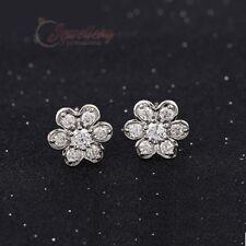 Silver Coloured Copper Cubic Zirconia Flower Stud Earrings