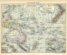Alte historische Landkarte 1898: Oceanien. Ozeanien Australien Neuseeland (B14)