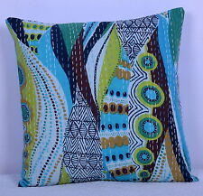 Turquoise Ikat Kantha Pillow Cover Throw Cotton Pillow Decorative Cushion 16""