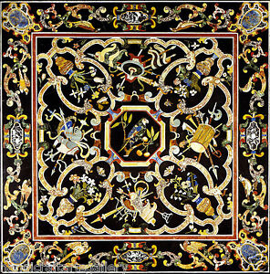 3'x3' Black Marble Dining Table Top Scagliola Inlay Multi Stone Birds Art Decors