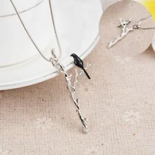 Lovely Charming Long Chain Pendant Necklace Bird Branch Pattern Women Jewelry