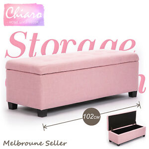 Storage Ottoman Blanket Box Linen Fabric Foot Stool Couch Toy Bed Large PINK
