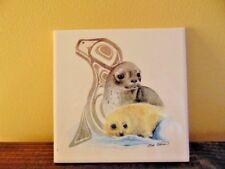 Sue Coleman Art Tile Seal Canada mother baby sea lion