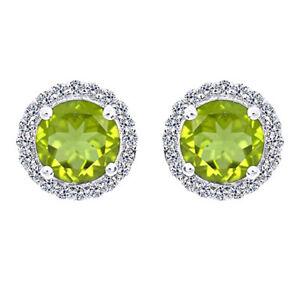 2.35 Ct Round Cut Peridot & 1/4 Ct Diamond 14K White Gold Stud Earrings