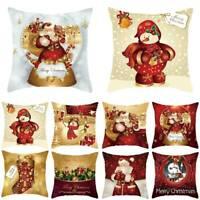 """18"""" Christmas Xmas Cushion Cover Pillow Case-Cotton Linen-Home-Sofa Throw Decor"""