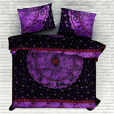 Indian Cotton Two Pillow Cover Queen Blanket Duvet Cover Mandala Handmade Ethnic