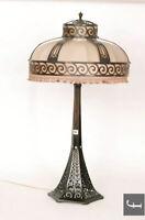 Bronze & Silk Table Lamp By Winkelman & Van Der Bijs, Dutch 1920's Art Deco 92cm
