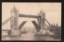 circa 1910 unused sepia matte RPPC - London, Tower Bridge, deck raised
