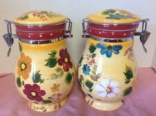 "Oneida Sunset Bouquet Lot Of 2 Hand Painted Canisters 8 7/8"" EUC"