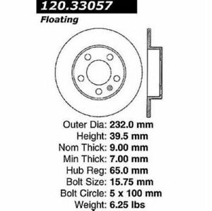 StopTech 127.33057L Sport Drilled & Slotted Brake Rotor For 11-18 Audi A1 NEW