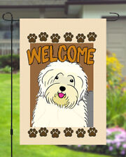 Old English Sheepdog Welcome Dog Garden Banner Flag 11x14 to 12x18 Yard Decor