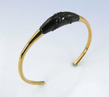 HOUSE of HARLOW 1960 Gold-Tone BLACK Resin & Jet Crystal Accent Cuff BRACELET