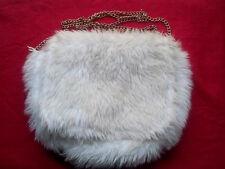 Icing Purse Handbag Tote White Gold Chain Furry Fuzzy Soft Pocket Snap Zipper