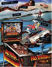 NO FEAR Original PROMO Pinball Flyer WILLIAMS 1995 Brochure Advertising Slick