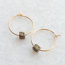 Pyrite Geometric Cube Bead Hoop Earrings - Thin Thread Through Wire