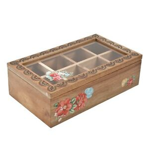 Pioneer Woman Vintage Floral 8 Compartment Tea or Spice Holder Acacia Wood Box