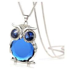 Frauen Schmuck Eule Anhaenger Diamant Pullover Lange Halskette blau  H9P8