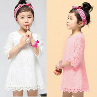 Summer Girls Lace Dress Baby Kids Princess Holiday Party Flower Dress Skirt 2-8Y