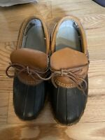 LL BEAN Duck Boots Womens Size 7 Brown Ankle Shoe Leather Waterproof