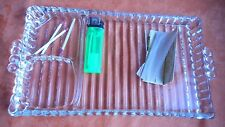 cigarette rolling tray, clear pressed glass, vintage high end, classic,11x6 inch