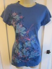 Ladies size 10 TU blue floral long blue summer top pink stitching short sleeves