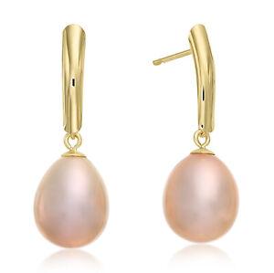 14k Yellow Gold Pearl Drop Dangle Earrings, Pink Freshwater Cultured Pearl