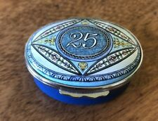 Halcyon days enamel box 25 blue and white oval