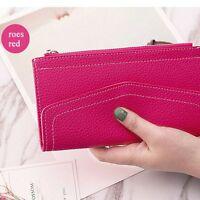 Ultra-thin Envelope Hand Bag Clutch Girls Wallet Money Women PU Leather Purse