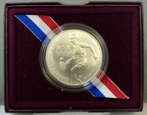 1996 D US Atlanta Centennial Olympic Games Tennis Uncirculated Silver Dollar