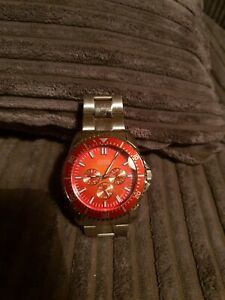 Mens GUESS watch Silver & Red