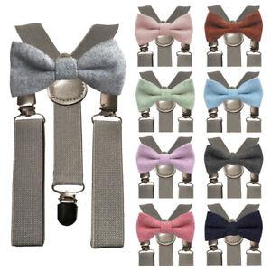 Children Kids Boys Matching Grey Braces & Luxury Wool Bow Tie Set. Wedding. UK.