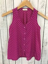SOPRANO Polka Dot Sleeveless Button Front Top Pink Size Medium (10-12) L1