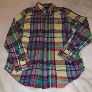 Size Medium 10-12 Ralph Lauren Multi-Colored Plaid Button Up Shirt Easter Yellow