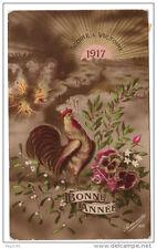 Nouvel An 1917 -  Gloire et Victoire - coq, fleurs, pensées - voyagé
