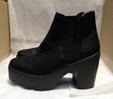 River Island Black Leather Chunky Platform Cleated Block Heel Ankle Boots UK 7