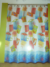 "COLORFUL MIAMI BEACH THEMED FABRIC SHOWER CURTAIN. 70"" X72"".   NEW"
