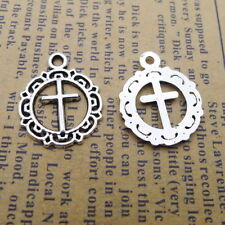 10x Round Charms Pattern Christian Cross Old Silver Beads Pendant DIY 16*20mm