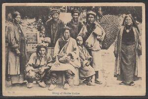 """Bhutan Vintage b/w ppc. of """"Group of Bhutia Coolies"""" unused"""