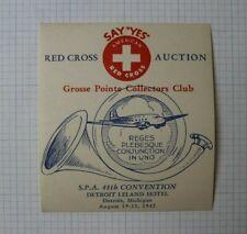 Red Cross Auction Spa 48th Convention Detroit Mi 1942 Souvenir Label Ad