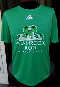 Adidas Men's Large Green Shamrock Run Jersey Portland 2018 40 Years Shirt