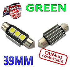 2 x Green Canbus LED 39mm Festoon Bright Interior Plate Lights C5W 3 SMD Bulbs