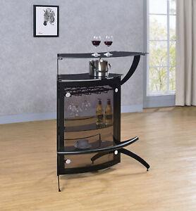 Modern Contemporary Black 2-ShelfBar Wine Cabinet TableWith Glass Top