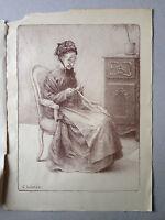 Charles LEANDRE lithographie gravure La vieille Melanie