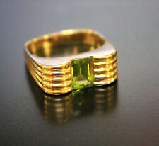 14kt Yellow Gold Single  Peridot Ring Emerald Cut Modern Solitaire Size 6.5