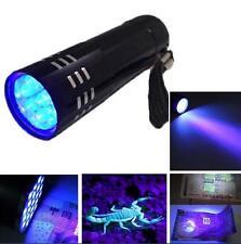 Totally Bizarre UV ULTRA VIOLET 9 LED FLASHLIGHT BLACKLIGHT Torch Light Lamp